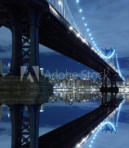 Fototapeta Manhattan Bridge Nocą
