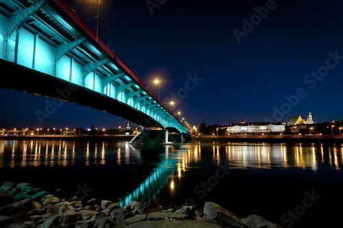Panorama Miasta Warszawy Nocą Architektura Obrazy I
