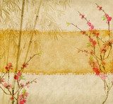Fototapeta bamboo and plum blossom on old antique paper texture