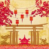 Fototapeta Chinese New Year card - Traditional lanterns and Asian buildings