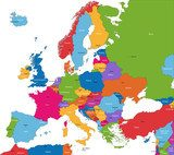 Fototapeta Colorful Europe map with countries and capital cities