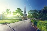 Fototapeta sunny morning and Eiffel Tower, Paris, France