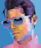 Obraz low poly man abstract fashion portrait